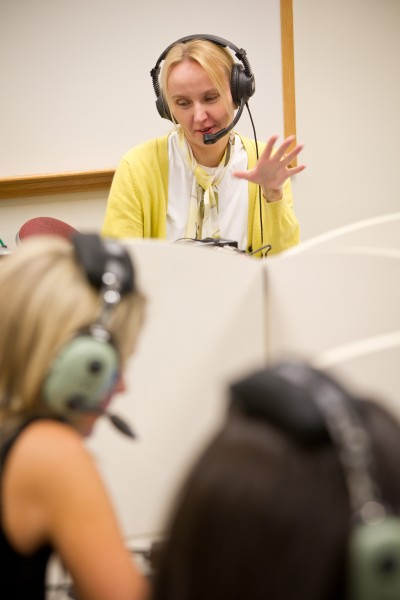 Professor Furmanek works with Interpreting students