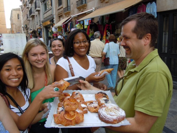 Students try traditional pastries in Spain