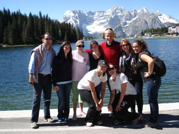 Students in Venice at Cortina d'Ampezzo in front of the dolomite mountains