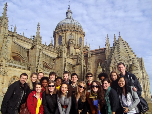 Students at the Catedral Vieja in Salamanca, Spain