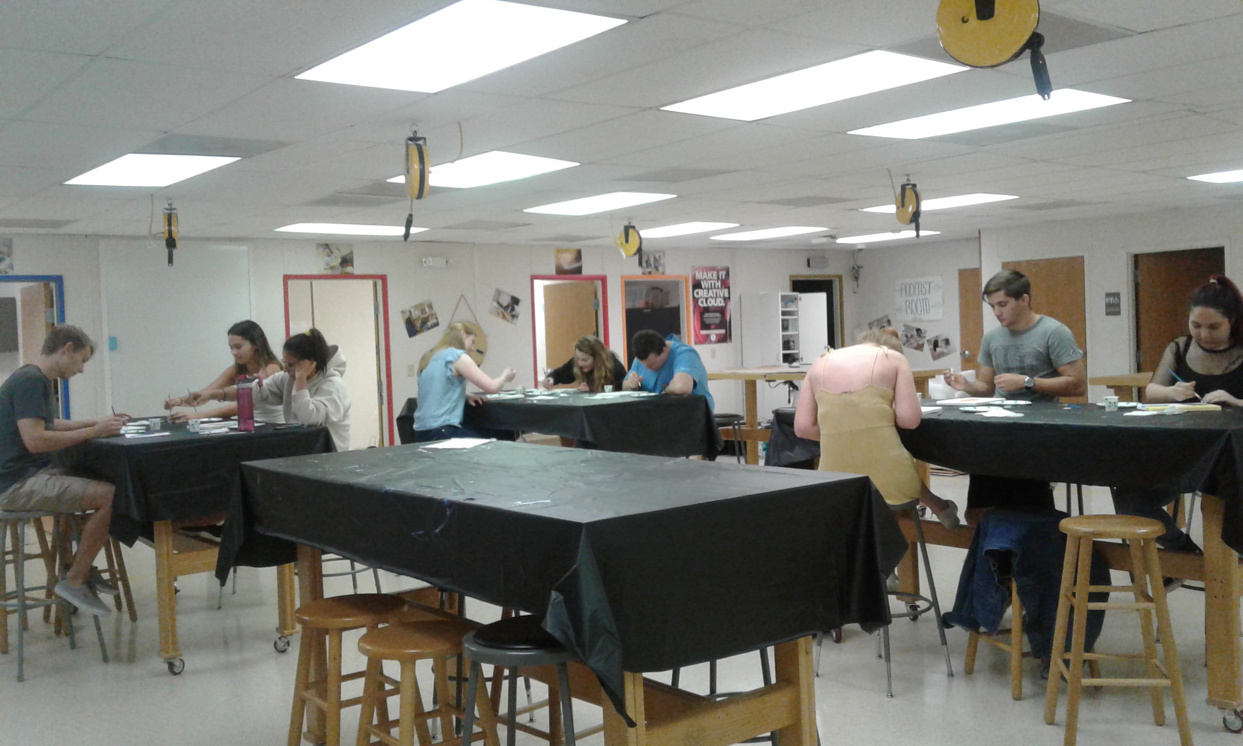 Students at art immersion activity