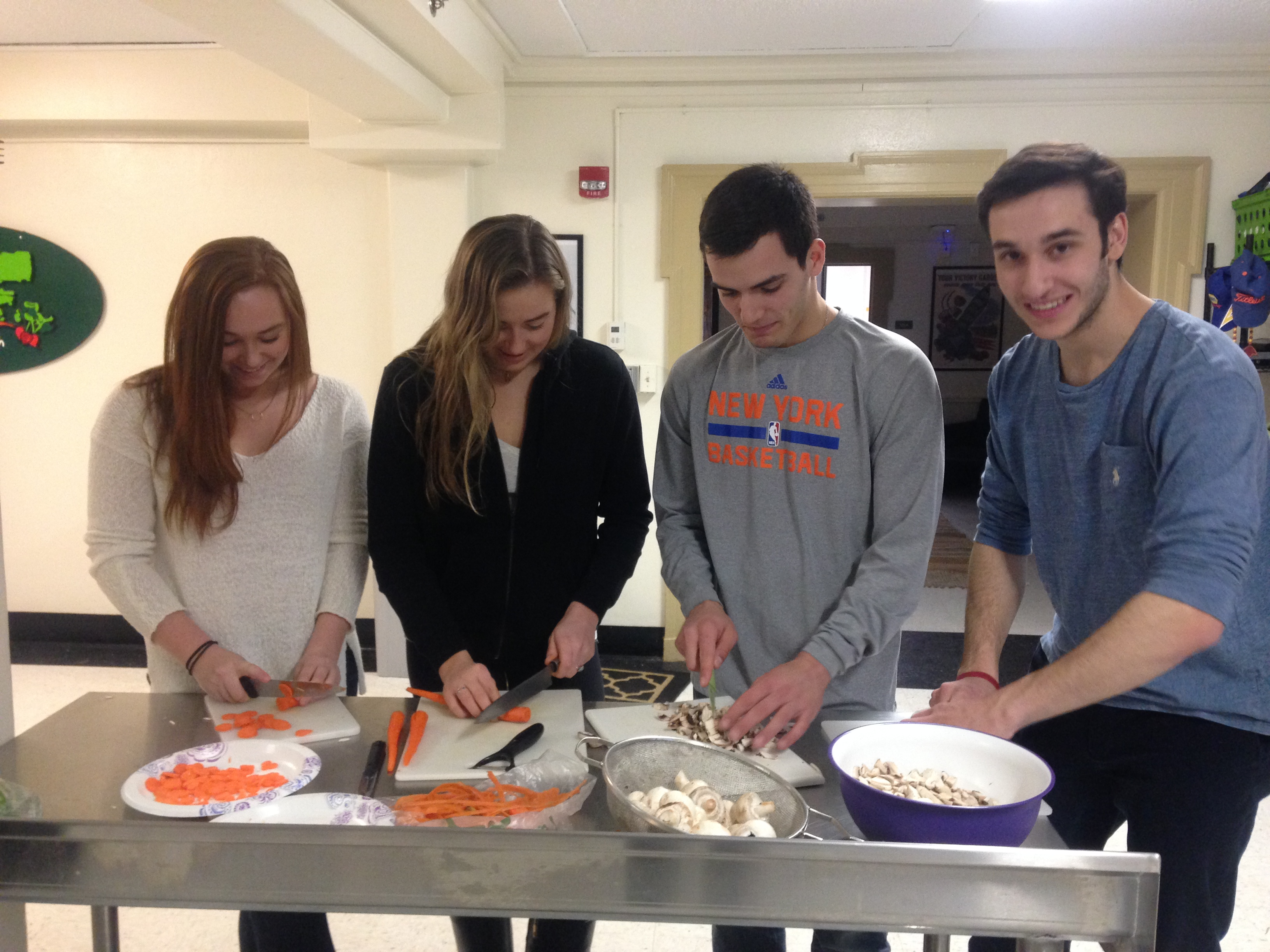 Students cook authentic Italian gnocchi in the campus kitchen